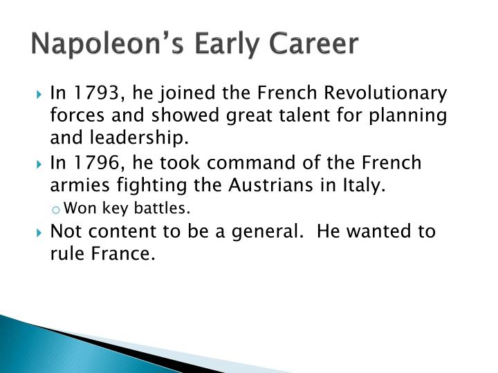 Napoleon's Early Career
