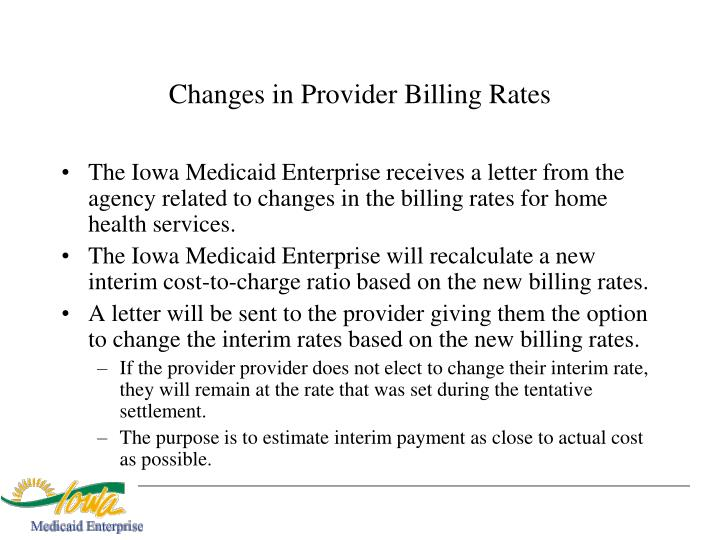 Changes in Provider Billing Rates