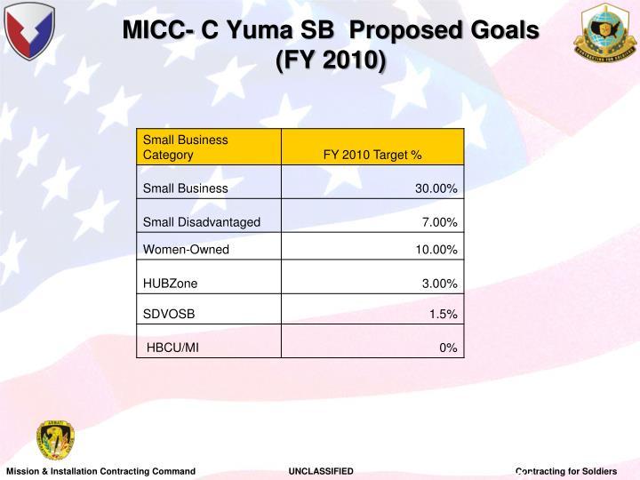 MICC- C Yuma SB  Proposed Goals