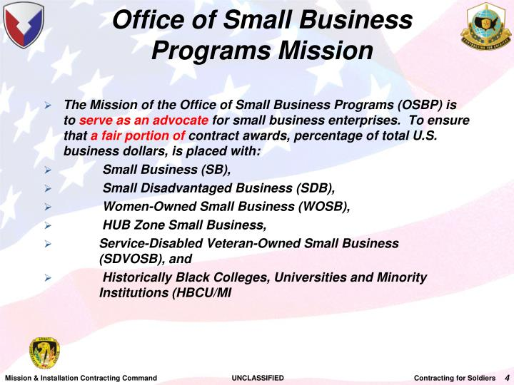 Office of Small Business Programs Mission