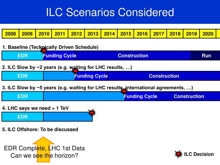 ILC Scenarios Considered