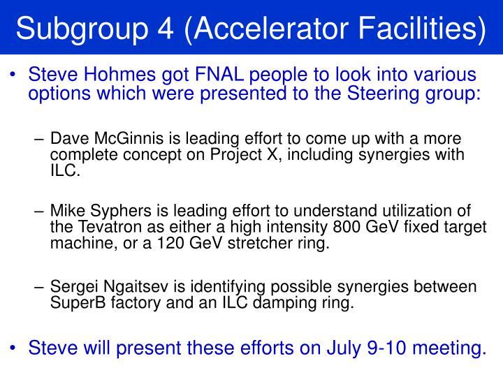 Subgroup 4 (Accelerator Facilities)