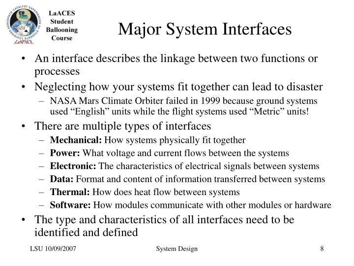 Major System Interfaces