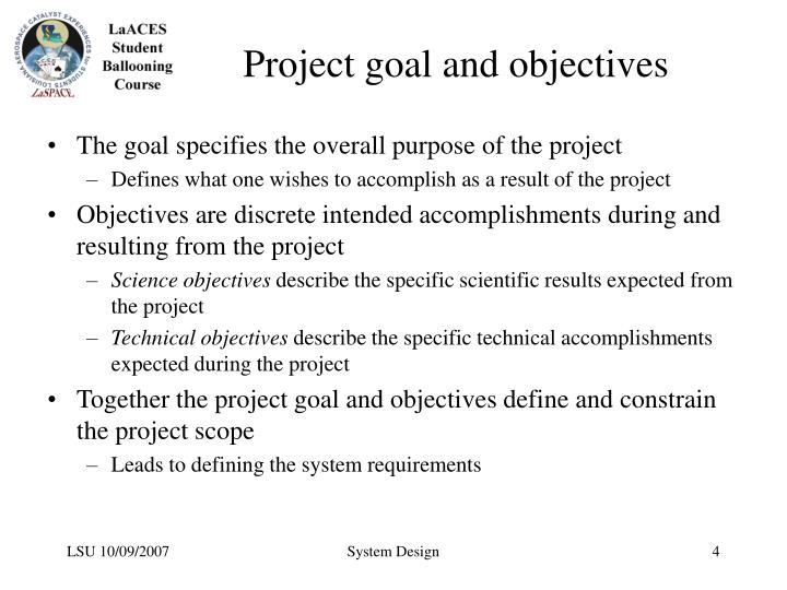 Project goal and objectives