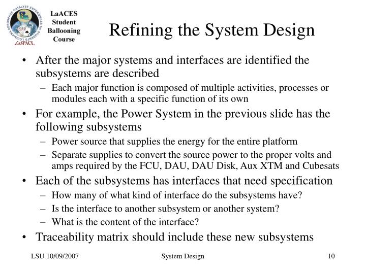 Refining the System Design