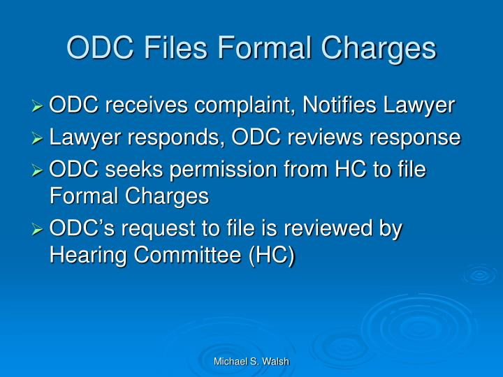 ODC Files Formal Charges