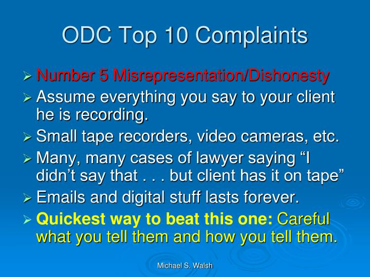 ODC Top 10 Complaints