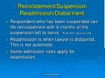 reinstatement suspension readmission disbarment