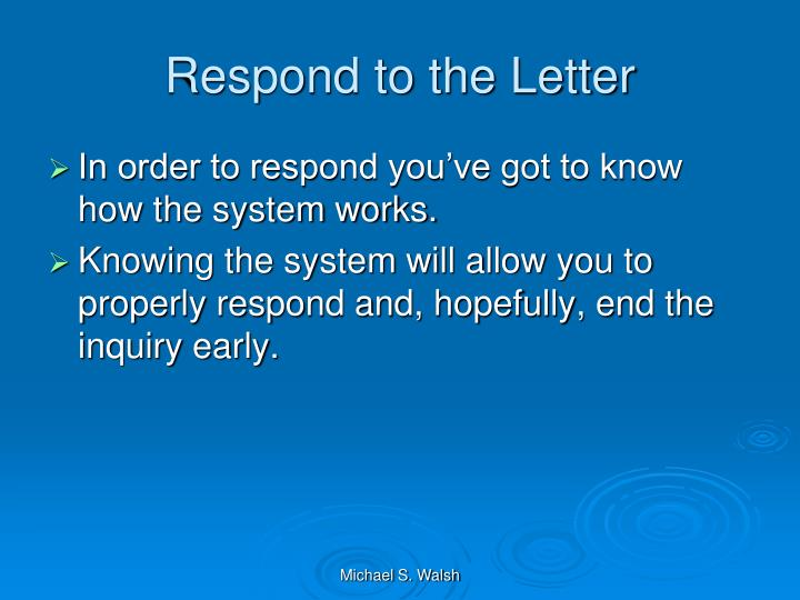 Respond to the Letter