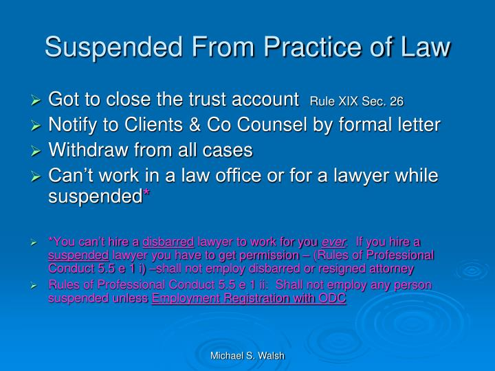 Suspended From Practice of Law