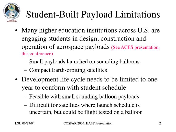 Student built payload limitations