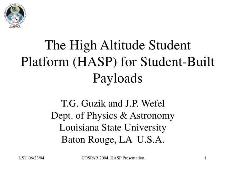 the high altitude student platform hasp for student built payloads