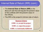 internal rate of return irr cont