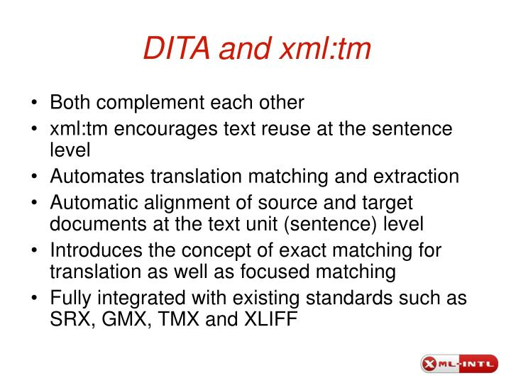 DITA and xml:tm