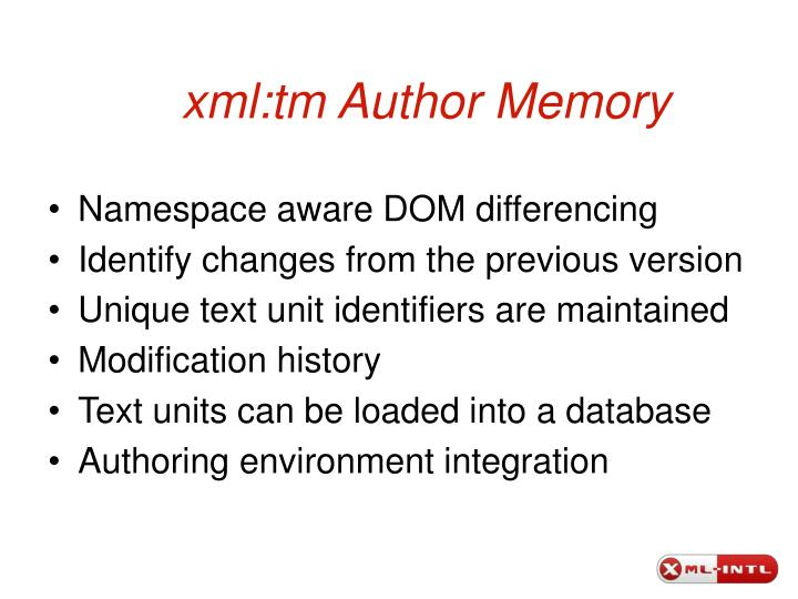 xml:tm Author Memory