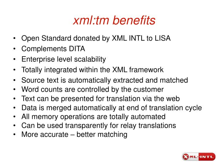 xml:tm benefits