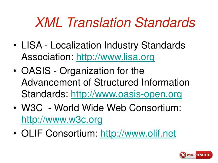 XML Translation Standards