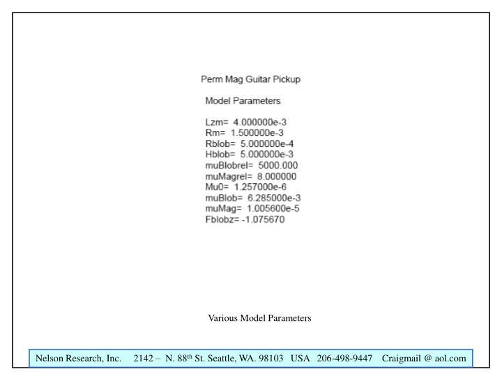 Various Model Parameters