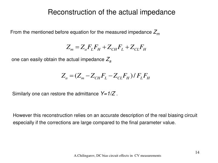 Reconstruction of the actual impedance