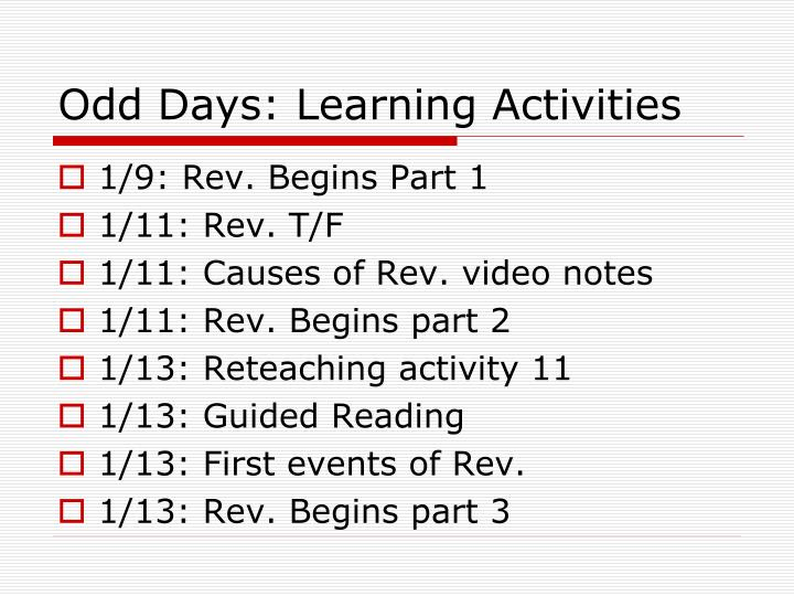 Odd Days: Learning Activities