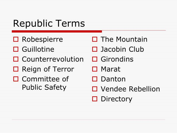 Republic Terms