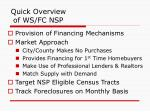 quick overview of ws fc nsp