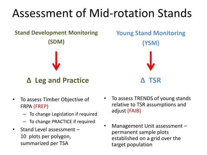 Assessment of mid rotation stands