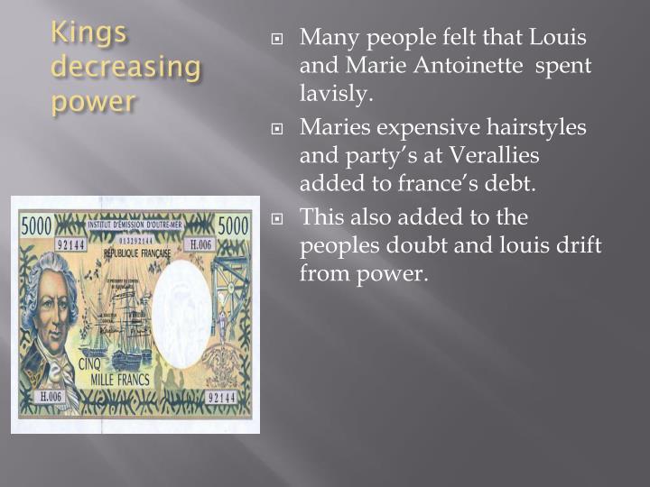 Kings decreasing power