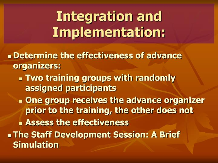 Integration and Implementation: