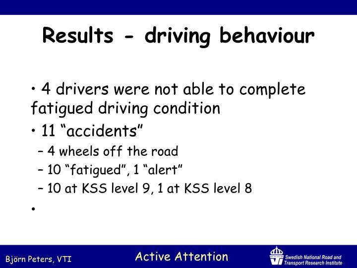 4 drivers were not able to complete fatigued driving condition