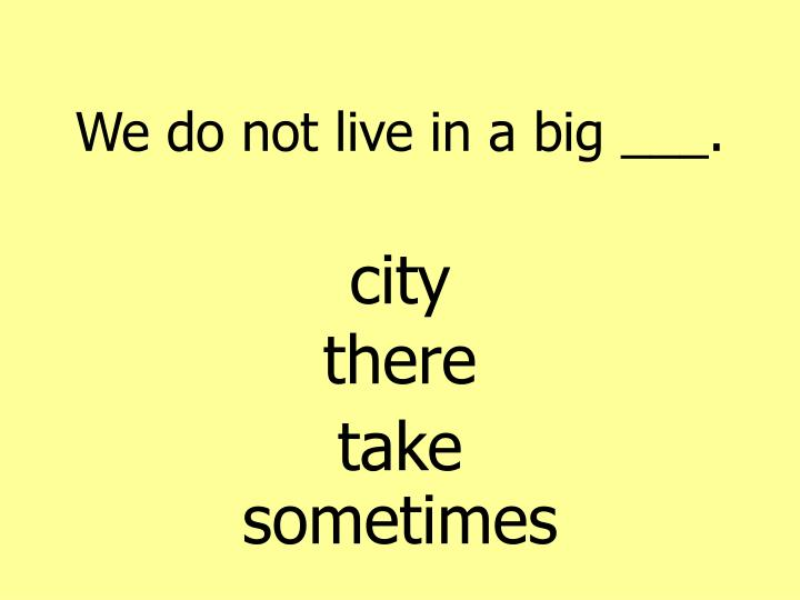 We do not live in a big ___.