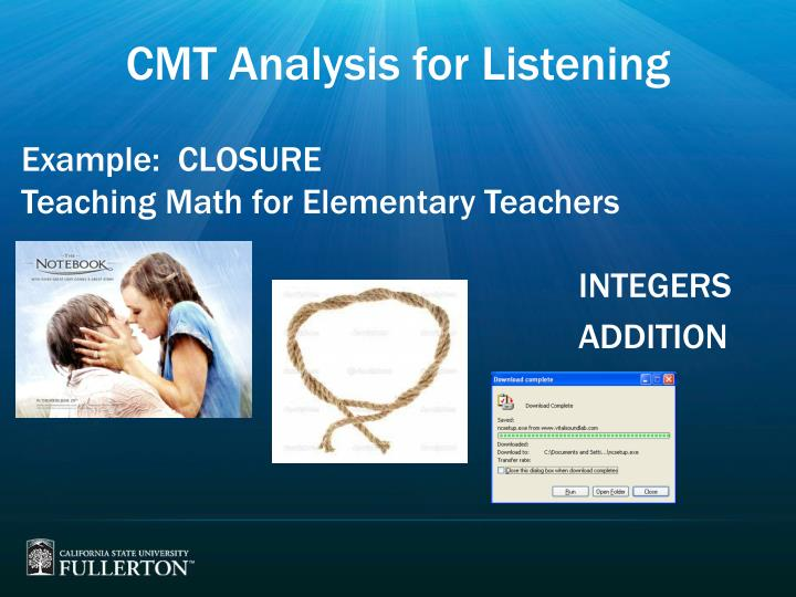CMT Analysis for Listening