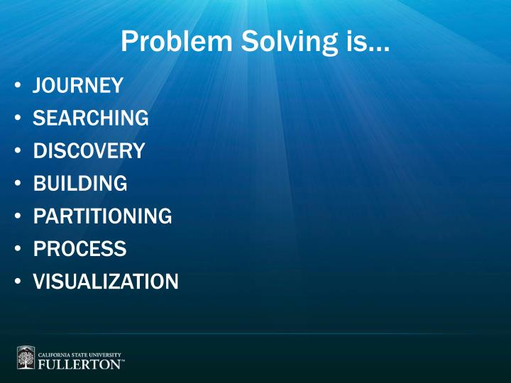 Problem Solving is…