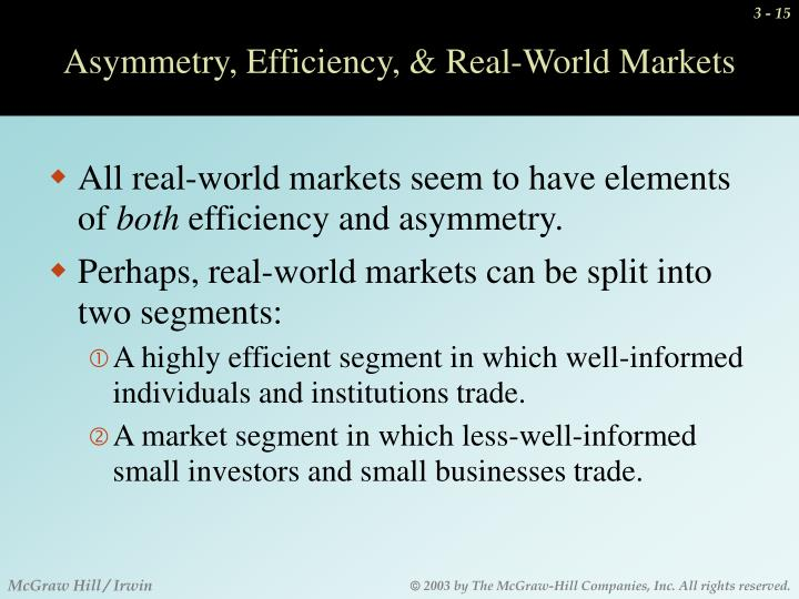 Asymmetry, Efficiency, & Real-World Markets