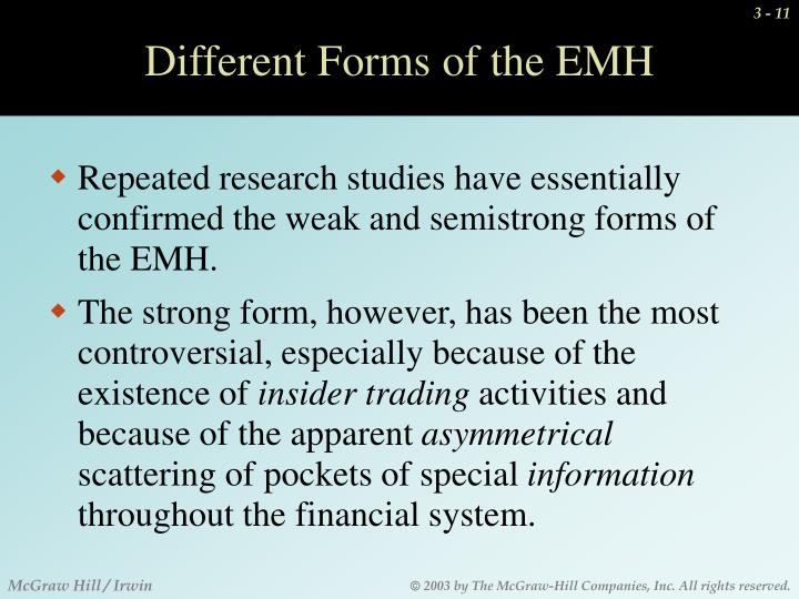 Different Forms of the EMH