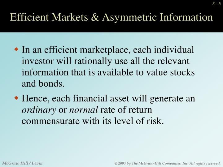 Efficient Markets & Asymmetric Information