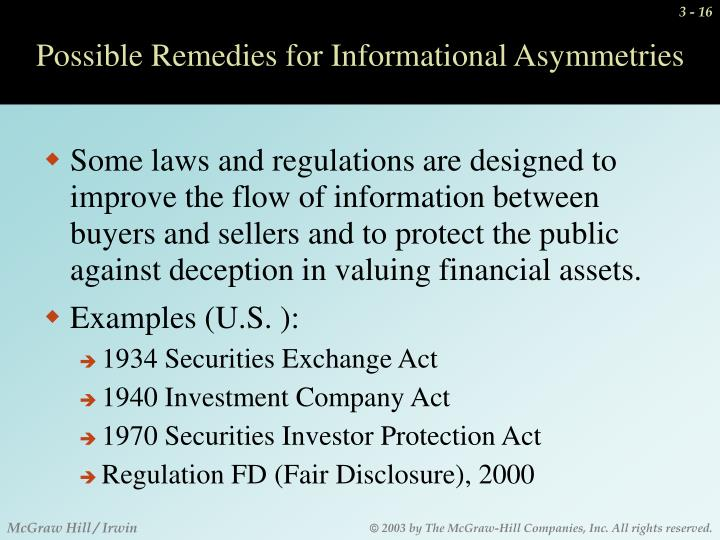 Possible Remedies for Informational Asymmetries