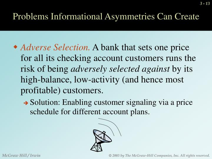 Problems Informational Asymmetries Can Create