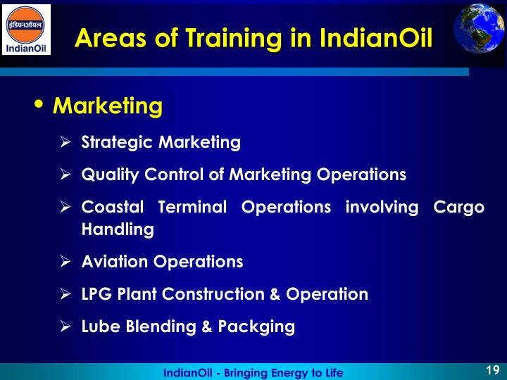 Areas of Training in IndianOil