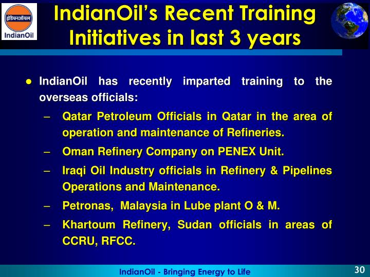 IndianOil has recently imparted training to the overseas officials: