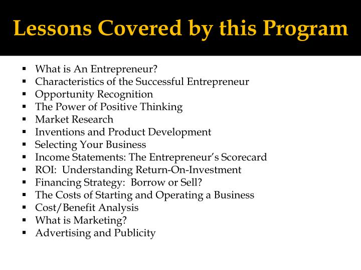 Lessons Covered by this Program