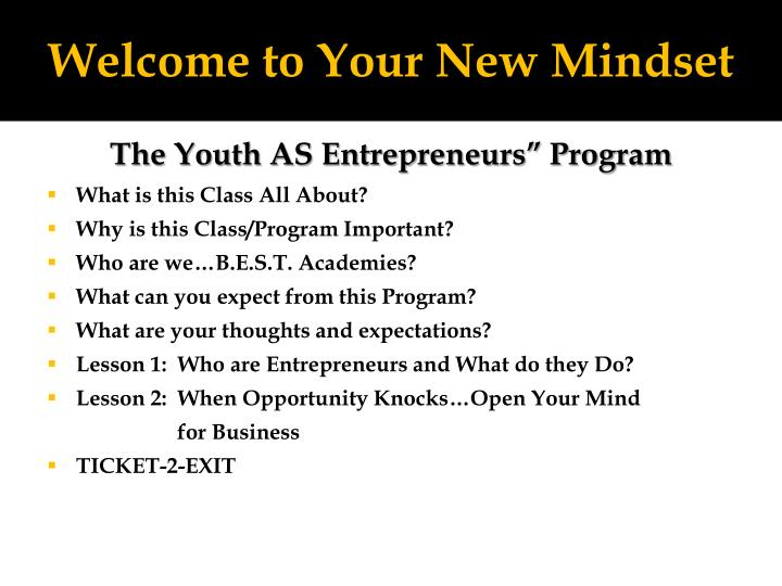 Welcome to Your New Mindset
