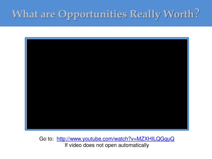 What are Opportunities Really Worth