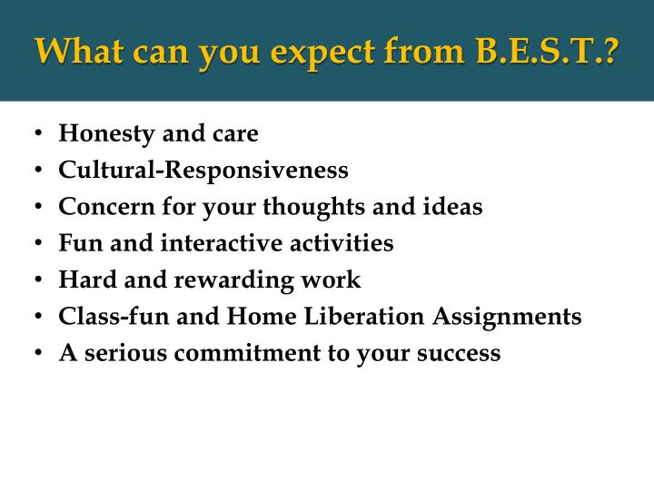 What can you expect from B.E.S.T.?