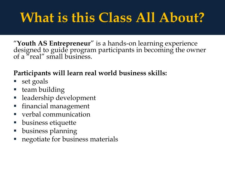 What is this Class All About?