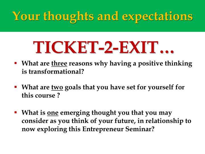 Your thoughts and expectations