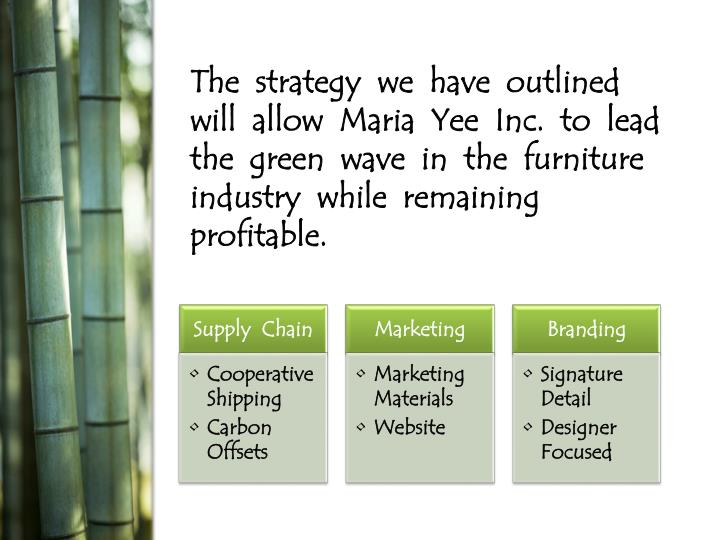 The  strategy  we  have  outlined  will  allow  Maria  Yee  Inc.  to  lead  the  green  wave  in  the  furniture  industry  while  remaining  profitable.