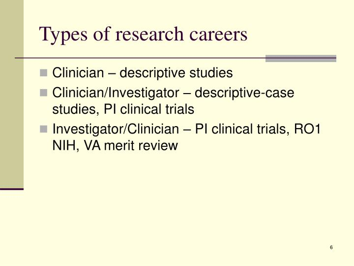 Types of research careers