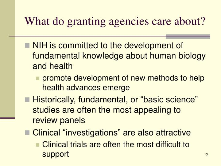 What do granting agencies care about?