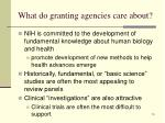 what do granting agencies care about